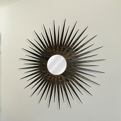 Metal Art Studio Sunburst Wall Mirror; Natural