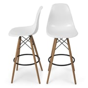 Belleze 31.25'' Bar Stool (Set of 2); White