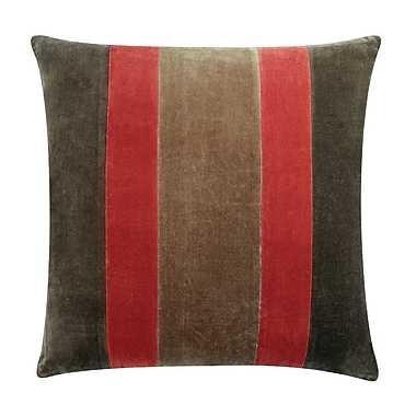 Piper Collection William Cotton/Velvet Throw Pillow; Red