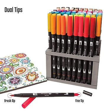 Tombow Dual Brush Art Markers 96 Colour Set With Stand 56149 Staples
