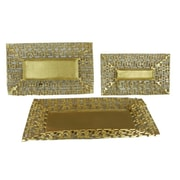 Essential Decor & Beyond 3 Piece Metal Charger Plate Set; Gold