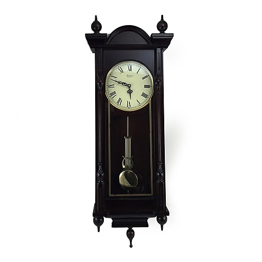 Bedford Clock Collection Antique Chiming Wall Clock in Cherry Oak Finish BED-20101
