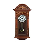 Bedford Clock Collection Antique Chiming Wall Clock in Padauk Oak Finish BED-9014