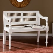SEI Solid Mahogany Turned-Leg Bench - White (BC9241)