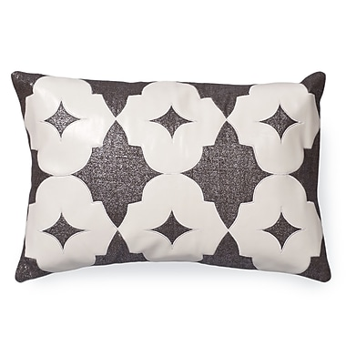 Piper Collection Wynn Faux leather/Linen Lumbar Pillow