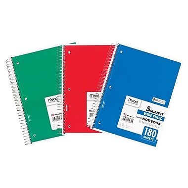 Mead Five Star Spiral 5 Subject Wide Ruled Notebook, 10 1/2