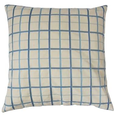 The Pillow Collection Ismene Plaid Cotton Throw Pillow; 24'' x 24''