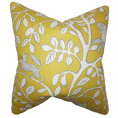 The Pillow Collection Honorine Floral Cotton Throw Pillow; 24'' x 24''