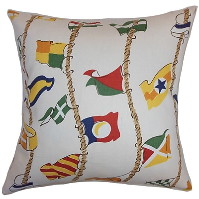 The Pillow Collection Inagua Flags Cotton Throw Pillow; 24'' x 24''