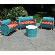 Drum Works Furniture Tahoe Indoor/Outdoor Garden Patio 4 Piece Seating Group w/ Sunbrella Cushion
