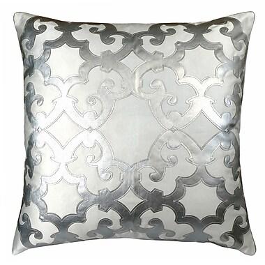 R&MIndustries Poleis Ferronnerie Boulevard Throw Pillow; White/Silver