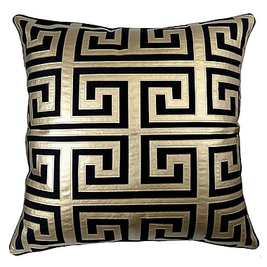 R&MIndustries Poleis Grecque Mykonos Throw Pillow; Black/Gold