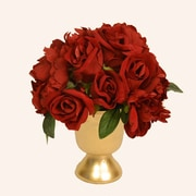 Floral Home Decor Red Rose and Peony in Gold Urn