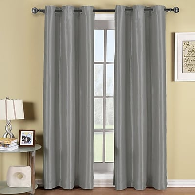 ELEGANT COMFORT Triple Layer Solid Blackout Grommet Curtain Panels (Set of 2); Silver