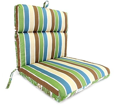 Charlton Home Reversible Dining Chair Cushion; Marley Emerald / Chino Stripe Emerald
