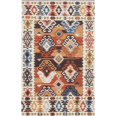 ECARPETGALLERY Antalya Hand-Woven Beige/Blue/Orange Area Rug; 4' x 6'