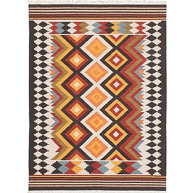 ECARPETGALLERY Mamaris Hand-Woven White/Orange/Red Area Rug; 5' x 8'