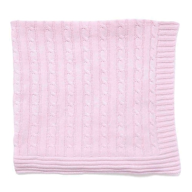 Tots Fifth Avenue – Couverture en maille torsadée, rose
