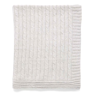 Tots Fifth Avenue Cable Knit Blanket, Grey