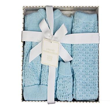 Tots Fifth Ave – Ensemble-cadeau 4 pièces en tricot pour bébé, bleu