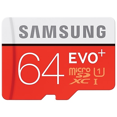 Samsung - Carte mémoire EVO+ MicroSDXC avec adaptateur, 64 Go