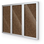 Best-Rite 3-Door Enclosed Bulletin Board 8' x 4' Tan Recycled Rubber-Tak/Panel Aluminum Frame (94PSH-I-95)