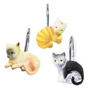 Sweet Home Collection 12 Piece Hand Crafted Kitty Shower Curtain Hook Set