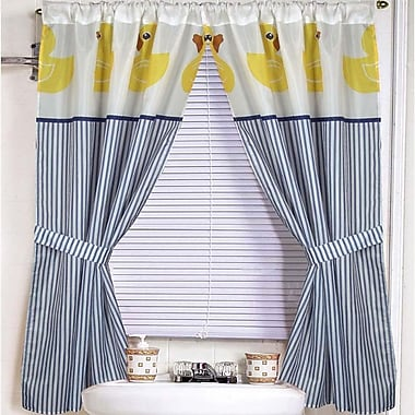Sweet Home Collection Rubber Ducky Curtain Panels (Set of 2)