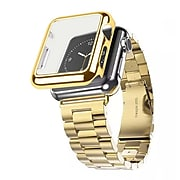 iPM Stainless Steel Watch Band with Plated Slim Case for Apple Watch-42mm-Gold (APWPLTD42GO)