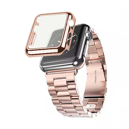 the best attitude 028ea b2d08 iPM Stainless Steel Watch Band with Plated Slim Case for Apple  Watch-38mm-Rose Gold (APWPLTD38RG)
