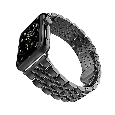 iPM Modern Stainless Steel Link Band with Butterfly Closure for Apple Watch-38mm-Black (ICEWA2138BK)