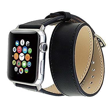 iPM Genuine Leather Double Wrap Replacement Watch Band-42mm-Black (ICEWA2842BK)