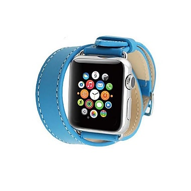iPM Genuine Leather Double Wrap Replacement Watch Band-38mm-Blue (ICEWA2838BL)