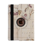 """iPM 360-Degree Rotary Stand Leather Case for iPad Pro (9.7"""")-Vintage Map-White (IPADGEO9WMP)"""