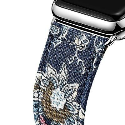 iPM Leather & Cloth Band with Buckle for Apple Watch-38mm-Dark Blue (LCL38DKBL)