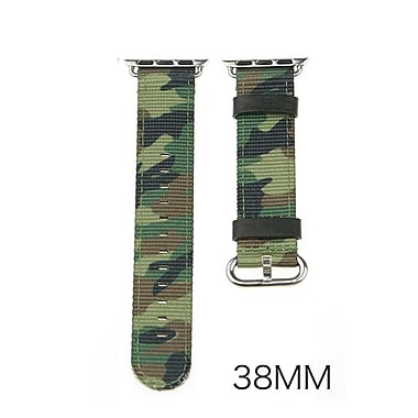 iPM Leather & Nylon Band with Buckle for Apple Watch-38mm-Green Camouflage (LN38GNCAMO)