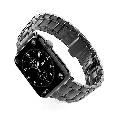 iPM Luxury Stainless Steel Link Band with Butterfly Closure for Apple Watch-42mm-Black (WA1242BK)