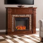 SEI Highgate Faux Stone Electric Media Fireplace - Whiskey Maple (FE9321)