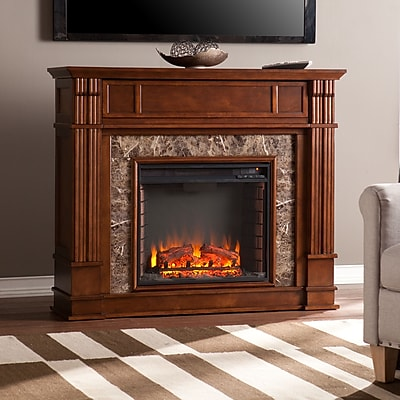 SEI Highgate Faux Stone Electric Media Fireplace - Whiskey Maple (FE9321)