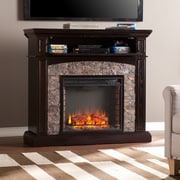 SEI Grantham Faux Stone Corner Electric Media Fireplace - Ebony (FE9359)