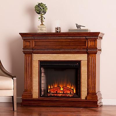 SEI Faircrest Stone Look Electric Fireplace - Oak Saddle (FE9617)