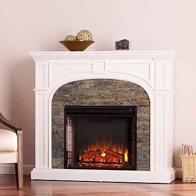 SEI Tanaya Stacked Stone Effect Electric Fireplace - White (FE9624)