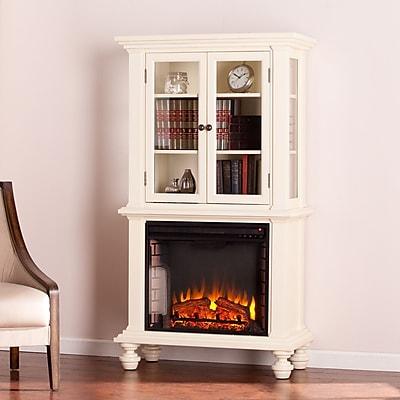 SEI Townsend Electric Fireplace Curio - Antique White (FE9828)