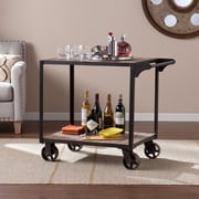 SEI Dayne Aged Gray Solid Wood Bar Cart (HZ2021)