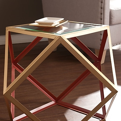 SEI Jenna Accent Table - Red & Champagne (OC2323)