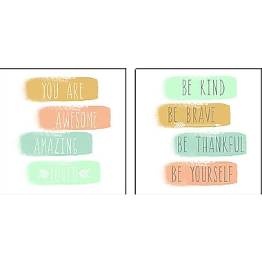 Artissimo Designs – Toiles galeries « You Are »/« Be Kind », 2 pièces, 12 x 24 po (683802PCD1)