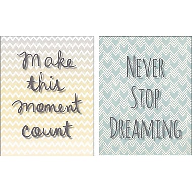 Artissimo Designs Make This Moment Count/Never Stop Dreaming 2 Piece Gallery-Wrapped Canvas, 12