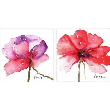 Artissimo Designs Paragon In Pink/Floral In Red 2 Piece Gallery-Wrapped Canvas, 12