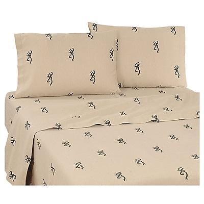 Browning 3D Buckmark 200 Thread Count 100pct Cotton Sheet Set; Twin