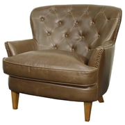New Pacific Direct Emma Bonded Leather Tufted Back Chair and a Half; Vintage Brown